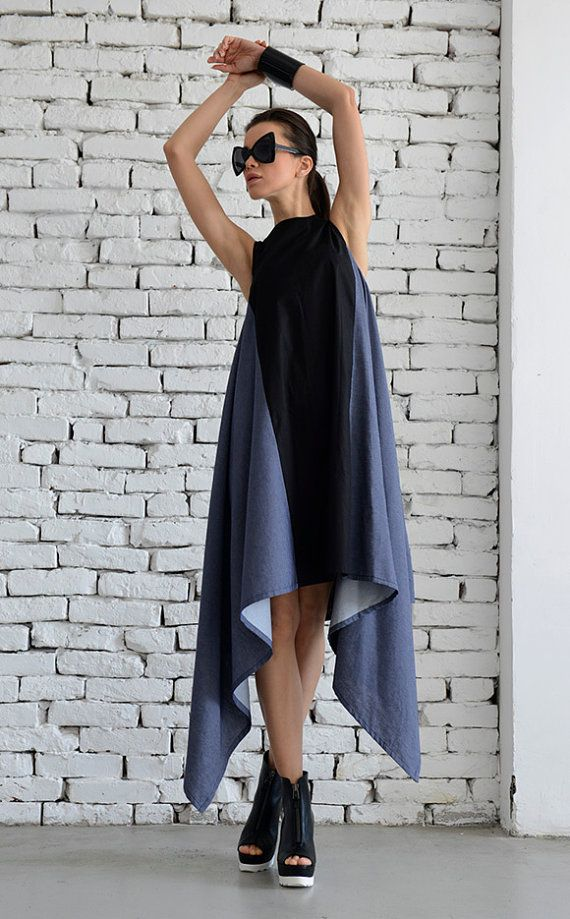 Sexy Asymmetrical Two Color Spring Dress/Denim and Black Long