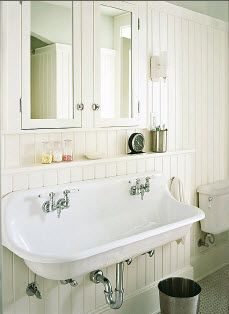 Fantastic sink and great looking beadboard - only in a mudroom, outside, or  in the laundry room. or in a shared kids bath!