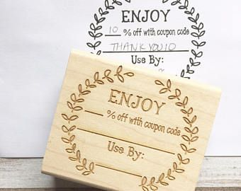 Coupon Code Stamp , Enjoy Discount Promo Sale Custom Rubber Stamp