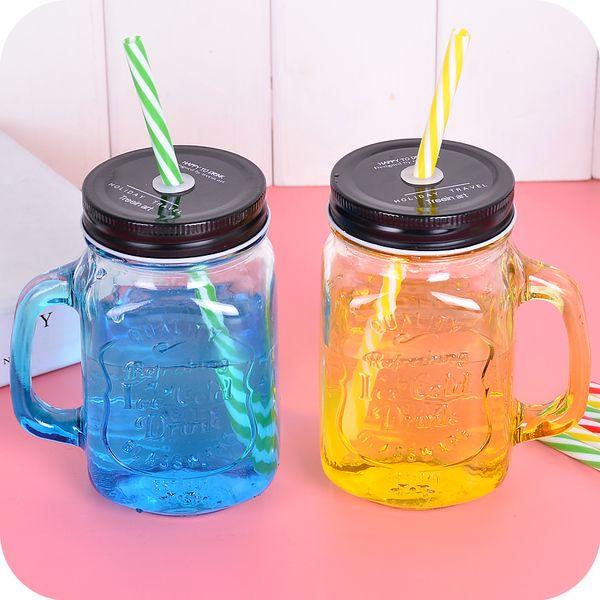 Корея Творческий портативный чашка с крышкой прозрачной стеклянной чашки стеклянной чашки готовностью отечественного напитка чашка с соломой