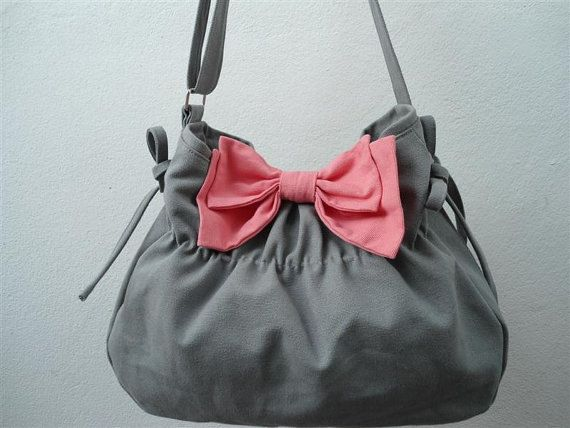 Gray bag with pink  bow- Purse/shoulder bag / Diaper bag/ Handbag /bow bag/pink bow /tote-You can select  color bow ( 1 only ) on Etsy, $45.12