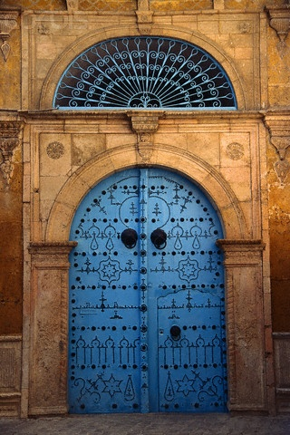 Africa | Decorated Doorway with Fanlight.  Tunis, Tunisia | ©Michele Burgess