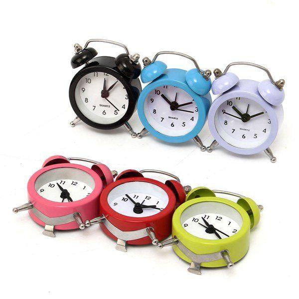 Mini Classic Double Bell Alarm Clock Traditional Quartz Movement With Night  Light