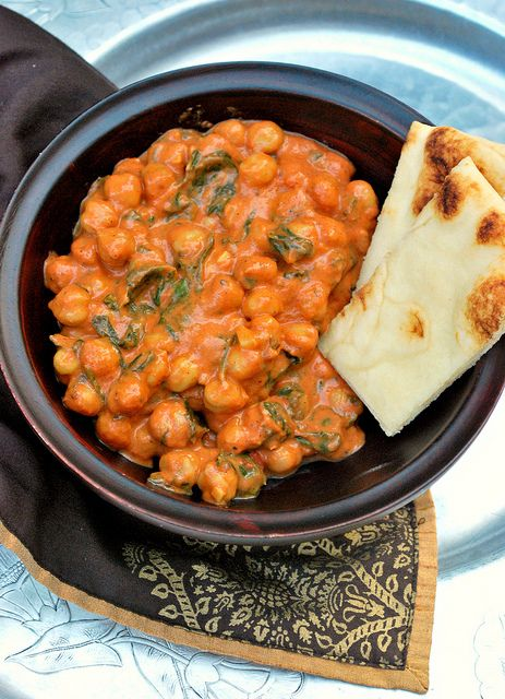 Indian Chickpeas and Spinach in a Tomato Cream Sauce