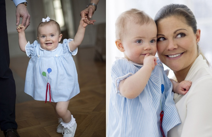 Crown Princess Victoria of Sweden and her daughter Princess Estelle on her first birthday.