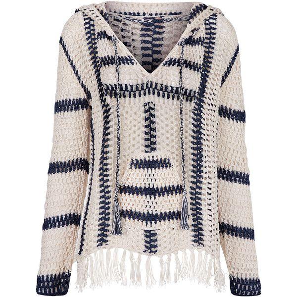Anna Kosturova Ivory & Navy Cape Cod Crochet Hoodie found on Polyvore featuring tops, hoodies, long sleeve hoodie, navy hoodies, pink top, print hoodie and crochet top