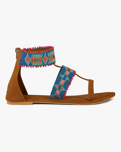 Buy BROWN Indie Picks Beaded Flat Sandals with Ankle Strap