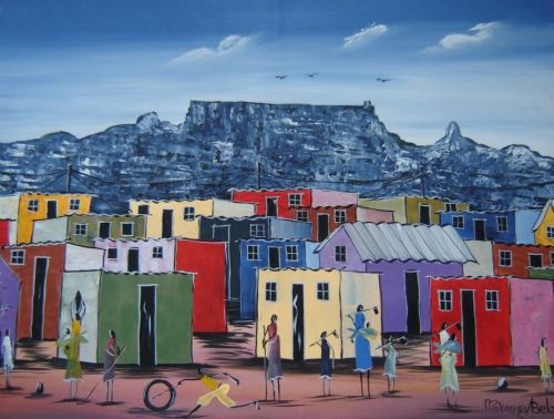 Cape Town - townships and Table Mountain painting