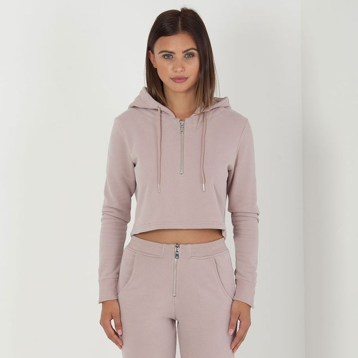 Zip Front Cropped Hoodie - Blush Nude
