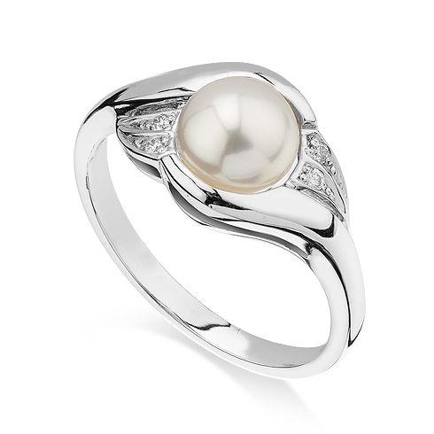 #Bijuterii cu perle  Inel de logodna cu diamant CORIOLAN DR167