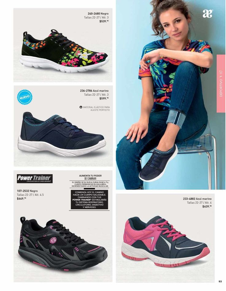 Tenis casual de Andrea para mujer, catalogo de verano. Tenis power Trainer. #CatalogoAndrea