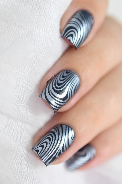 Marine Loves Polish: Denim marble - Pueen marble paradise 01 - stamping - essie blue rhapsody - kiko 466