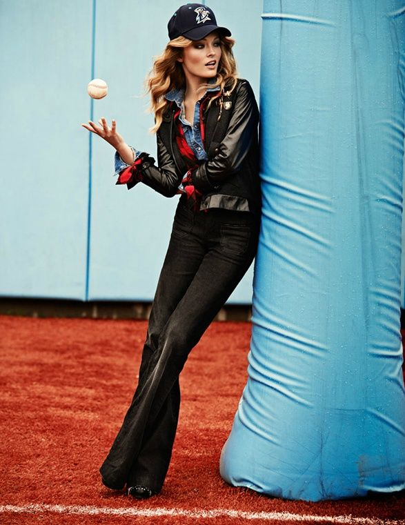 Denim & Baseball | Olga Maliouk by David Burton for Elle Italia September 2011 - NOIR FAÇADE - The place for fashion editorials.