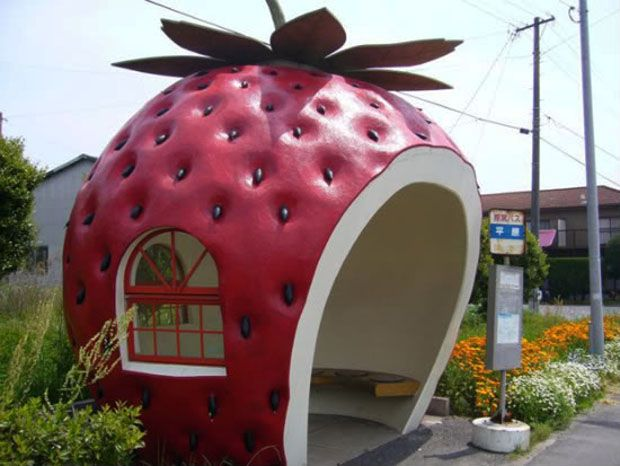 Strawberry Shaped Bus Stop Shelter in Japan :)