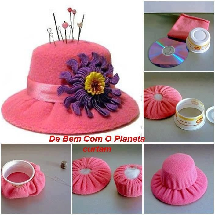 #Pincushion made with a recycled plastic food container and a CD to resemble a beautiful ladies hat!