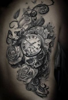 pocket watch skull tattoos - Love the idea of this, with other bits added and…