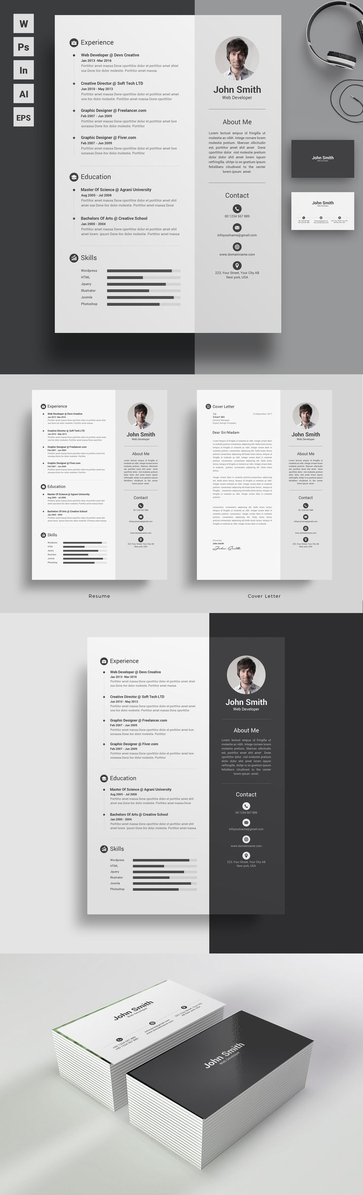 Clean but lucrative trendy resume design template for those who wants to stand out in the crowd. Definitely an eye catcher.  Word Resume+ Word Coverletter + Word Business Card Template