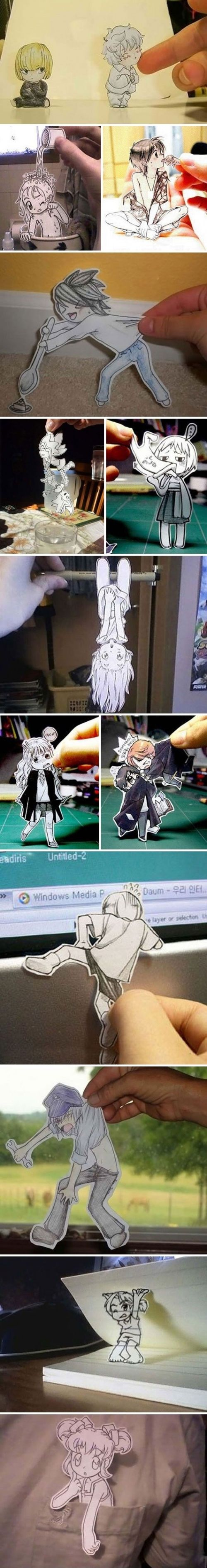 Anime Cutouts - good idea for a teen program.  Take pics of them at the library.   ~I really want to do this!