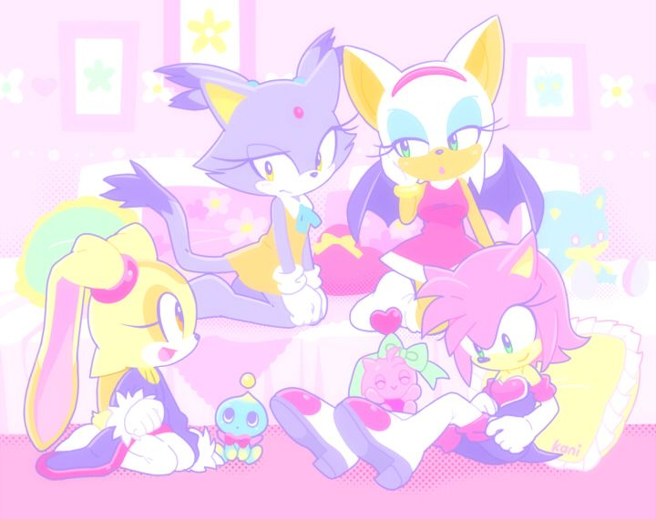 Amy, Cream, Rouge, And Blaze Having A Sleep Over And