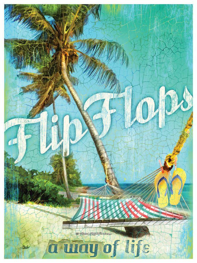 Flip Flops A Way Of Life Artwork. Beach Cottage DecorCoastal ...