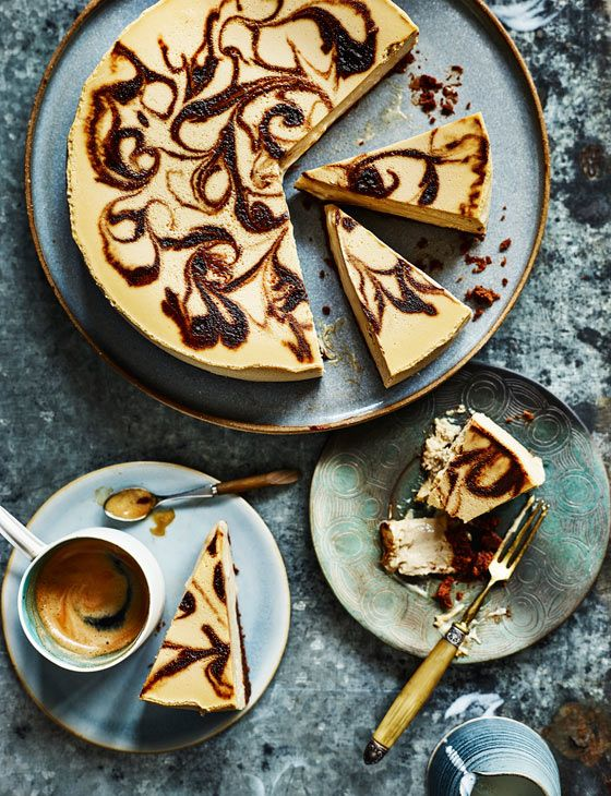 This coffee cheesecake recipe has a luxurious espresso swirl - perfect for an indulgent tea time treat or sophisticated dessert.