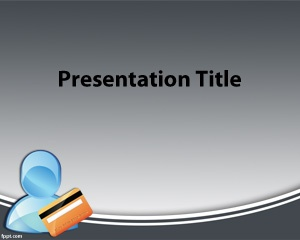 Free business credit card PowerPoint template with avatar and credit card illustration
