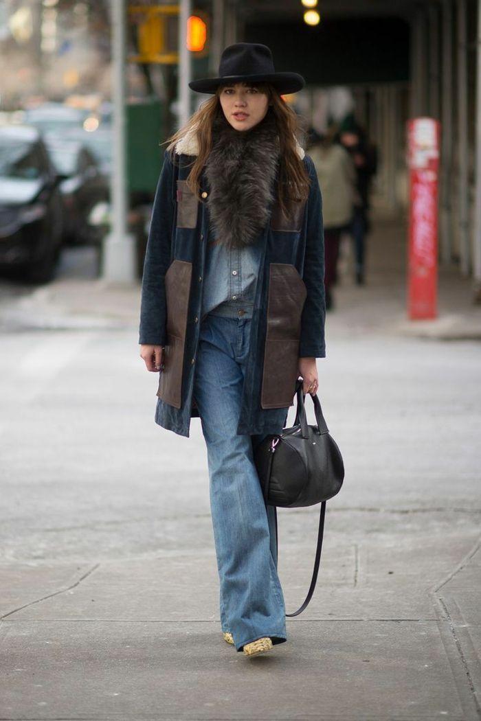 Manteau fausse fourrure et echarpe fausse fourrure, tenue tout en jean femme  comment s habiller aujourd hui hiver edition 4c4800aea1b