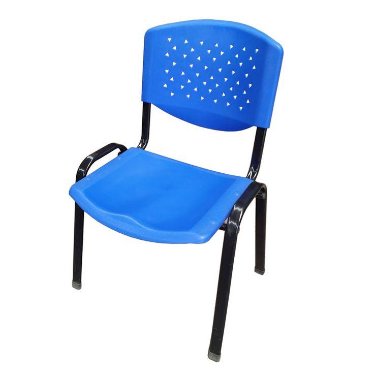 Silla Sigma $12.500 + IVA  Silla apilable de estructura metálica negra, asiento y respaldo en  polipropileno.  Ancho: 54 cm Largo: 55 cm Altura: 82 cm Altura asiento: 40 cm Color: Azul Material: Metal y polipropileno  Código Producto: ASC-017
