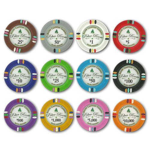 Bluff Canyon 13.5 gram clay composite Poker Chips.