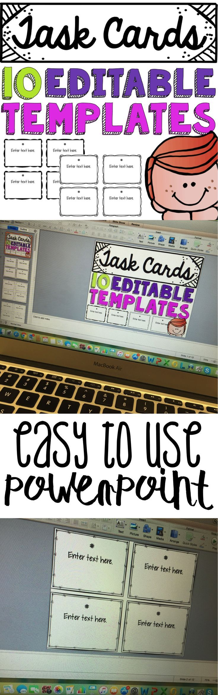 Do you need a template to make quick task cards? Check out this editable PowerPoint with ten different designs/templates! This activity is perfect for reading, math, grammar, etc. They can also be used for exit tickets! For more products like this see Education Lahne on Pinterest.