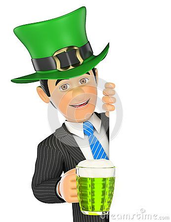 Cartoon Illustration about 3D Businessman pointing aside with Saint Patrick day hat and a b