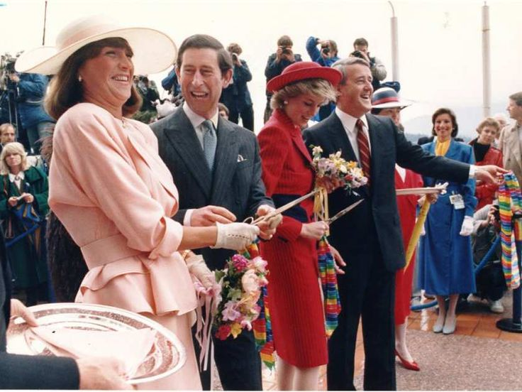 Ribbon cutting at Canada Place with Mila and Brian Mulroney helping  Princess of Wales and Prince