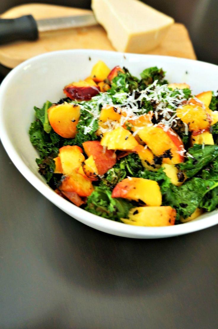 how to make peach kale salad