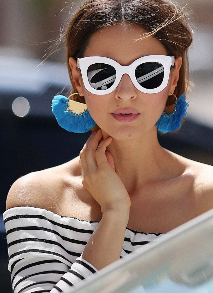 #statementearrings , white frame sunglasses, off the shoulder top, tassel earrings, statement earrings, summer vibes, summer outfit ideas,