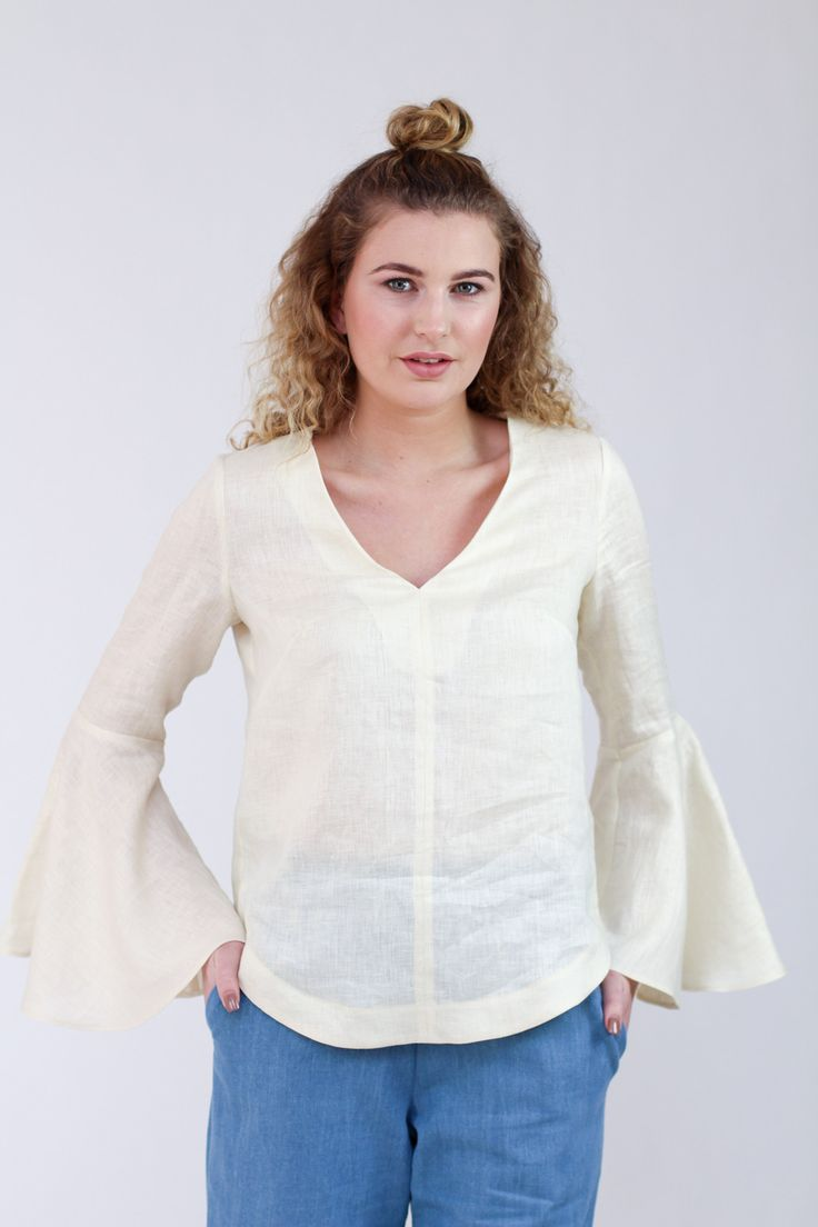 Dove blouse sewing pattern version 3: blouse with bell sleeves