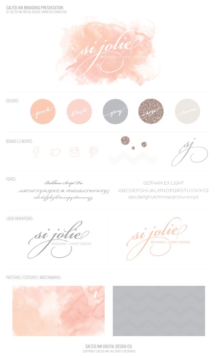 Soft pastel palette for Si Jolie Wedding and Event Design | Salted Ink | #branding #brand #typography
