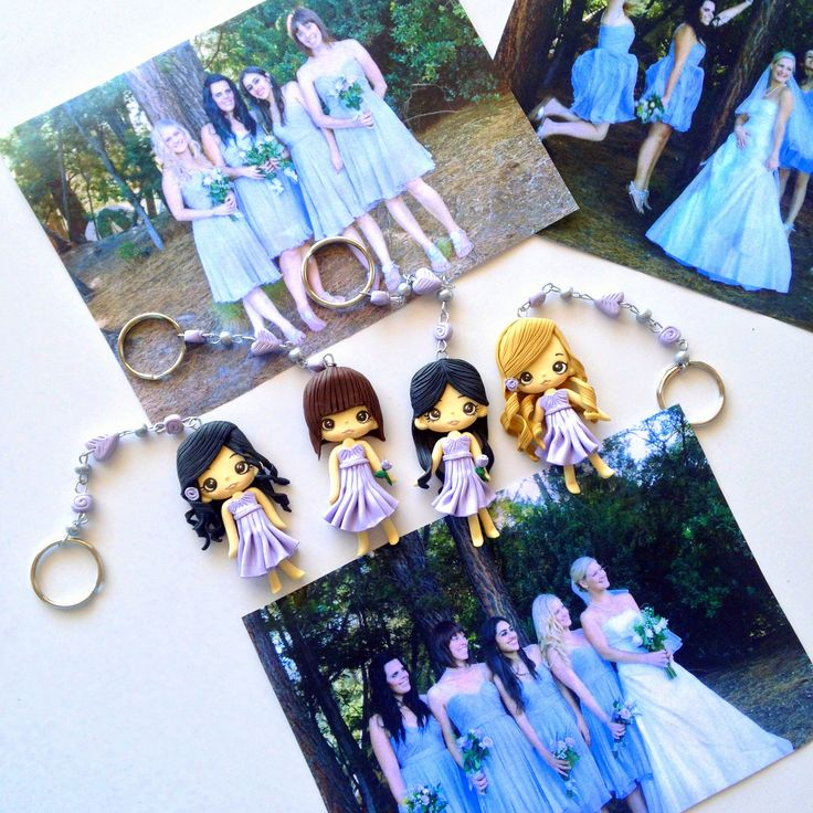 Custom made bridesmaid gift - Polymer clay figurine key ring made for each of your bridesmaids to say thank you for all their help on your Wedding day.