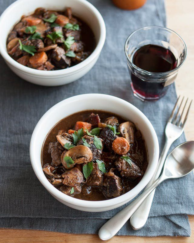 Crockpot or Slow-Cooker Boeuf Bourguignon Recipe Julia Child made this famous, we made it easy for your crock pot! If you're looking for ideas for comfort food recipes for cold weather, it's time to try this CLASSIC beef dinner. You'll need: bacon, inexpensive & budget friendly chuck roast or round roast, white button mushrooms, carrots, celery, onion, tomato paste.