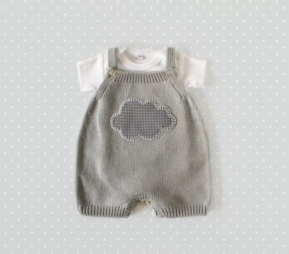 Knitted overalls in gray with a cloud. 100% cotton. READY TO SHIP size newborn…