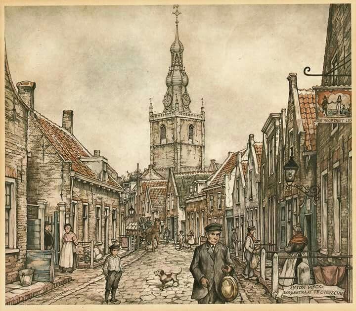 Tekening van Anton Pieck van Overschie zicht op dorpstraat en grote kerk