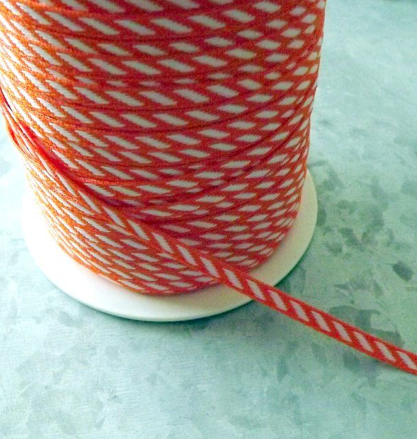Orange and White Diagonal Stripe Ribbon