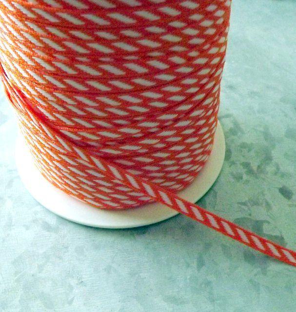 Orange and White Diagonal Stripe Ribbon