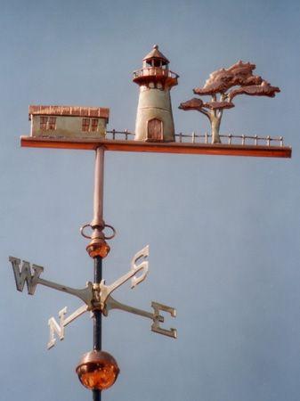 The Lighthouse with Tree Weather Vane is based on a historic lighthouse. It is handmade in copper with gold leaf detail. Personalized design available.