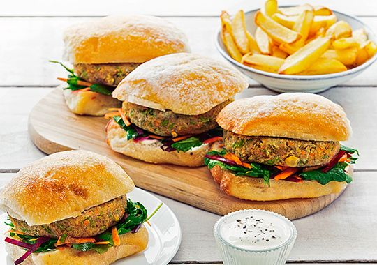 Chickpea Burgers with Kale and Beetroot Slaw