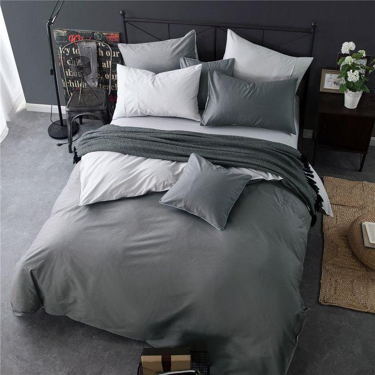 Amazon|(イホミェ)iHomie 純綿 布団カバー 3点セット シングル 両色系 四季適用 純綿100% 活性プリント 小柄 「布団カバー ベッドシーツ 枕カバー」 (ダークグレーとライトグレー)|寝具カバーセット オンライン通販