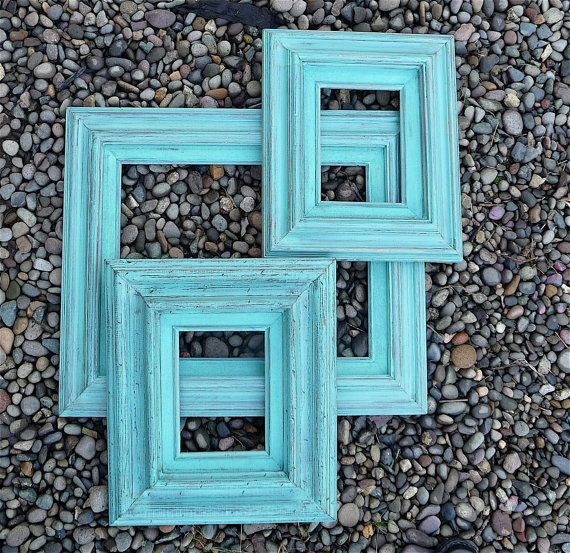weathered teal picture frames