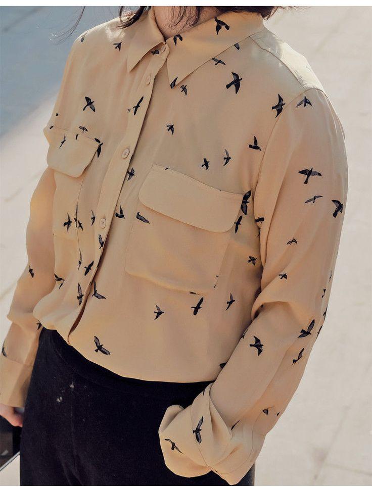 New 100% silk women fly bird print long sleeve shirt lady blouse spring autumn