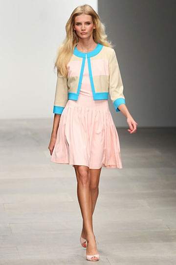 Issa spring 2012 RTW: Pastel pinks with pops of bright blues.  Cropped springtime jacket.