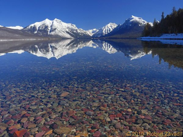Lake McDonald - Glacier National Park, Montana. The water is this clear. The view is this beautiful.