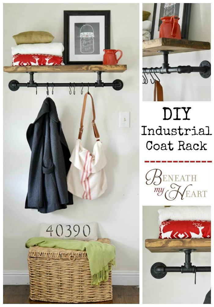 DIY: How To Build an Industrial Coat Rack - using pipe, spray paint and a piece of wood.  This is an excellent tutorial! www.beneathmyheart.net